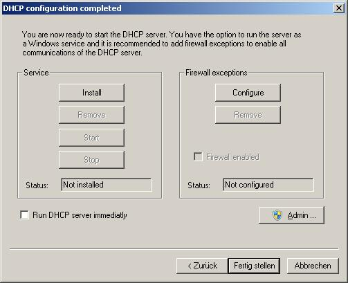 Running the Server | DHCP Server for Windows
